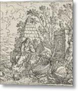 Democritus Mediterend, Jonas Umbach, 1634 - 1693 Metal Print