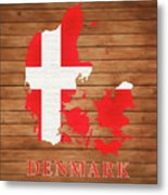 Denmark Rustic Map On Wood Metal Print