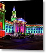 Denver City County Building Holiday Lighting. Metal Print