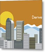 Denver Colorado Horizontal Skyline Print Metal Print