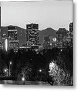 Denver Colorado Skyline Wide Angle Black And White Metal Print