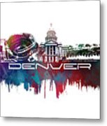 Denver Skyline City Blue Metal Print