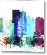 Denver Watercolor Skyline Metal Print