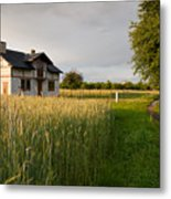 Derelict Disused House In Field Metal Print