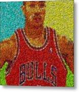Derrick Rose Skittles Mosaic Metal Print by Paul Van Scott