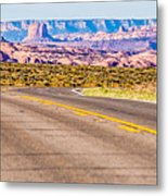 descending into Monument Valley at Utah  Arizona border  Metal Print