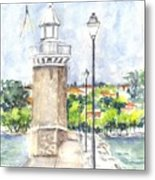 Desenzenzo Lighthouse And Marina In Italy Metal Print