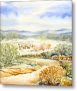 Desert Landscape Watercolor Metal Print