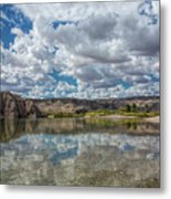 Desert River Cloud Reflection Metal Print