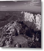 Desert View At Grand Canyon Arizona Bw Metal Print