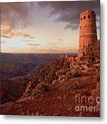 Desert Watchtower At Sunset Metal Print