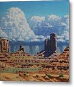 Rainstorm Over Monument Valley Metal Print