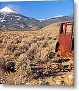 Deserted Car With Cow Skeleton, Great Metal Print