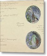 Design For A Brooch With Oriental Fruits, Carel Adolph Lion Cachet, C. 1874 - C. 1945 Metal Print
