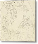 Design For A Ceiling Painting With A Triumph Of Minerva, In Oval, Dionys Van Nijmegen Possibly, 17 Metal Print