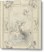Design For A Ceiling Painting With Allegory Of Peace, Dionys Van Nijmegen, 1715 - 1798 Metal Print