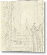 Design For A Garden View With A Peacock On A Fence, Dionys Van Nijmegen Possibly, 1715 - 1798 Metal Print