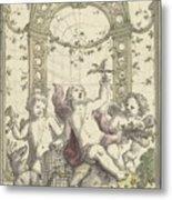 Design For A Gazebo Of Green Trellis, In Which Three Putti Play With Animals, Daniel Marot II, 170 Metal Print