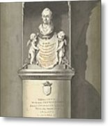 Design For A Monument To C. Brunings A Bust In A Niche, Bartholomeus Ziesenis, 1806 Metal Print