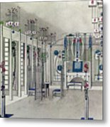 Design For A Music Room With Panels By Margaret Macdonald Mackintosh Metal Print