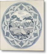 Design For A Plate With A Garden View, Carel Adolph Lion Cachet, 1874 - 1945 Metal Print