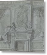 Design For A Room Wall With A Chimney Piece And Paintings, Cornelis Troost, 1720 - 1750 Metal Print