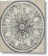 Design For An Inlaid Circular Table Top, With Alternatives Metal Print
