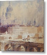 Design For The Thames Embankment, View Looking Downstream Metal Print