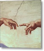 Detail From The Creation Of Adam Metal Print by Michelangelo