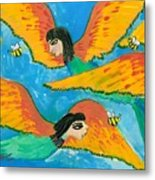 Detail Of Bird People Little Green Bee Eaters Of Upper Egypt 1 Metal Print