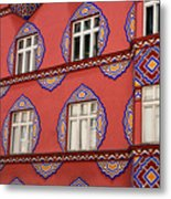 Detail Of Bright Facade Of The Cooperative Business Bank Buildin Metal Print