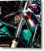 Detail Of Chrome Headlamp On Vintage Style Motorcycle Metal Print