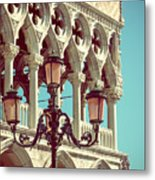 Detail Of Lamp And Columns In Venice. Vertically.  Metal Print