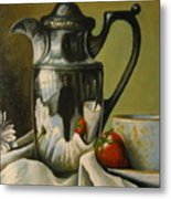 Detail Of Reflective Urn With Flowers Metal Print