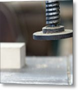 Detail Of The Chuck In The Carpentry Workshop - Shallow Depth Of Metal Print