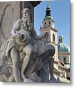 Detail Of The Robba Marble Scultpure On The Fountain Of The Thre Metal Print