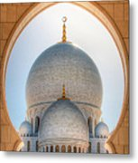 Detail View At Dome Of Sheikh Zayed Grand Mosque, Abu Dhabi, United Arab Emirates Metal Print