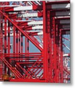 Detail View Of A Row Container Loading Cranes Metal Print