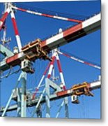 Detail View Of Container Loading Cranes Metal Print