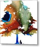 Determination - Colorful Cat Art Painting Metal Print by Sharon Cummings