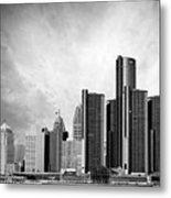 Detroit Black And White Skyline Metal Print