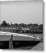 Detroit Lighthouse And Boat Black And White  Metal Print