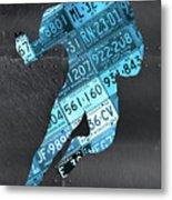 Detroit Lions Football Running Back Recycled Michigan License Plate Art Metal Print