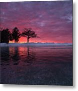 Detroit Point Sunset Off The Ice Metal Print