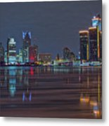 Detroit Skyline From Windsor In Hdr Metal Print