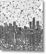 Detroit Skyline Map 5 Metal Print