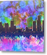 Detroit Skyline Watercolor 1 Metal Print