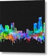 Detroit Skyline Watercolor 3 Metal Print
