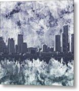 Detroit Skyline Watercolor Grunge Metal Print