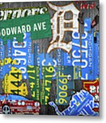 Detroit The Motor City Michigan License Plate Art Collage Metal Print